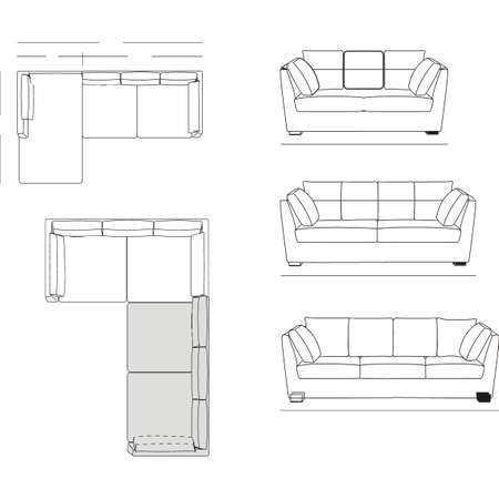 constructivism: Outline Illustration of the Couch Plan Stock Photo