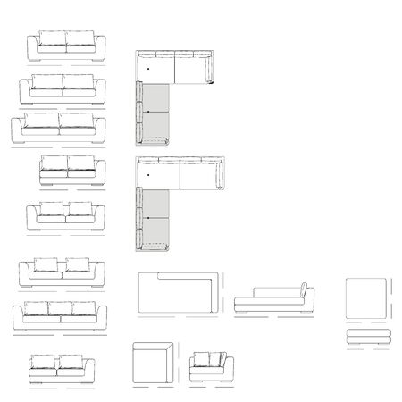couch: Outline Illustration of the Couch Plan Stock Photo