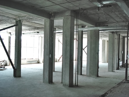 constructivism: At construction site of a multistory building inside