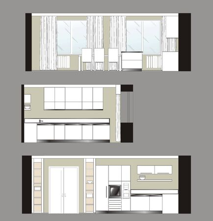 kitchen furniture: Kitchen furniture drawing color scan of the interior wall
