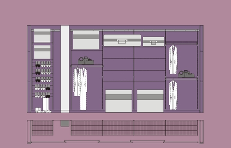 dressing room: Architectural drawing of Cloakroom cupboard residential interior