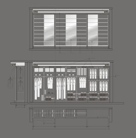 architectural drawing: Architectural drawing of Cloakroom cupboard residential interior