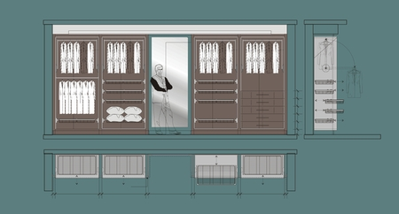 cloakroom: Architectural drawing of Cloakroom cupboard residential interior