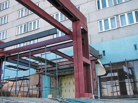 Welded: Construction steel welded frame beam column the outside Stock Photo