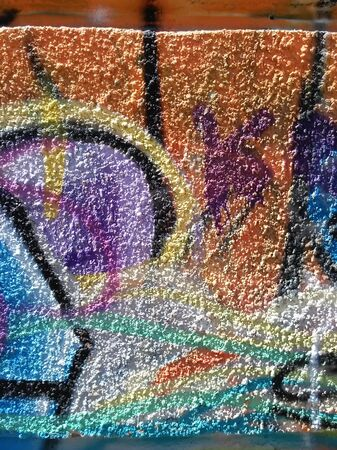 Abstraction of graffiti color on plaster wall Stock Photo