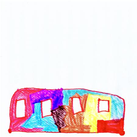 子供の抽象的な絵のグラフィック色バス図面