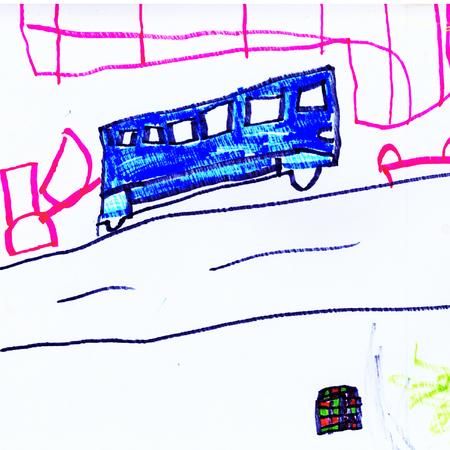 子供の抽象的な絵のグラフィック色のバスの図面