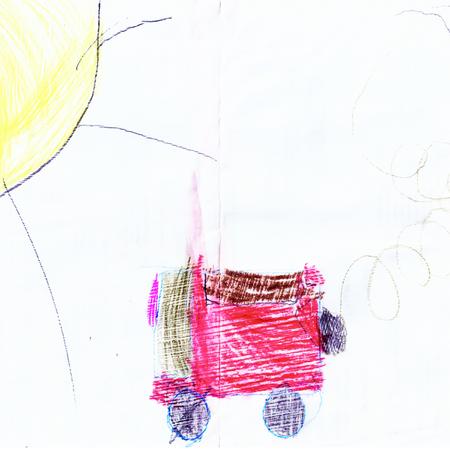 Dibujo gráfico de autobús gráfico abstracto pintoresco de los niños Foto de archivo - 89642445