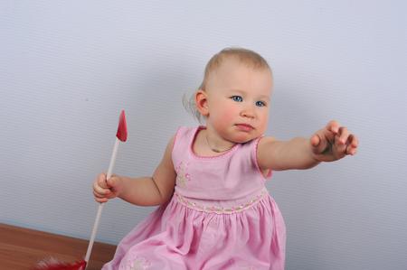 Cute Angel Little Girl Cupid with a Blush Foto de archivo - 117866209