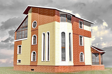 Facades storey residential building constructed in traditional style 3D Rendering