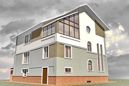 Fassadengeschossiges Wohngebäude im traditionellen Stil 3D-Rendering Standard-Bild