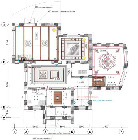 Drawing ceiling plan with elements of lighting and furniture of an apartment house