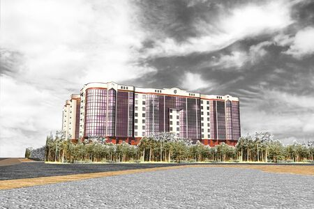 Apartment Building Tall_08 structure building social housing neighborhood 3d-Rendering Banque d'images