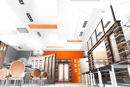 Cafe Hall Interior color slide premises of a small cafe