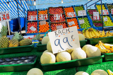 A colourful image of fruit and vegetables on sale at a market stall in Ford, Sussex, England. photo