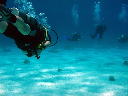 naama bay: Divers Outside Sharm El Sheikh, Egypt Stock Photo
