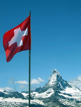 switzerland flag: Matterhorn and Swiss Flag, Zermatt, Switzerland