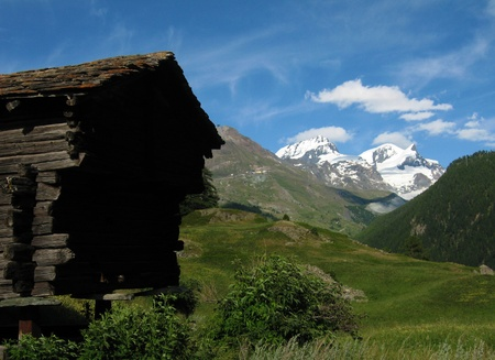 Wooden Hut and Alps Meadows, Zermatt, Switzerland Stock Photo - 14396071