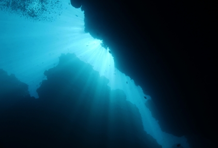 Sunbeams Breaking Through Underwater, Bunaken, Indonesia