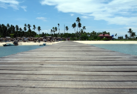 mabul: Jetty and Beach at Pulau Mabul, Malaysia