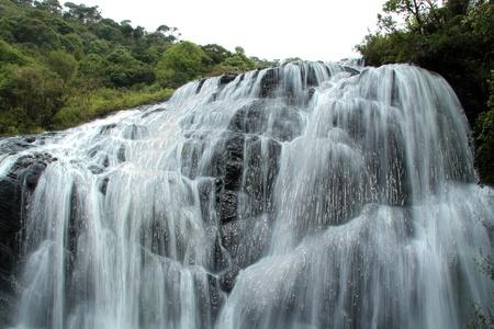 baker's: Baker s Falls with Plastic Wrap Effect, Horton Plains National Park, Sri Lanka Stock Photo