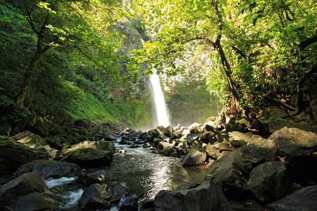 costa rica: La Fortuna Waterfall aka Catarata Fortuna, Alajuela Province, Costa Rica Stock Photo