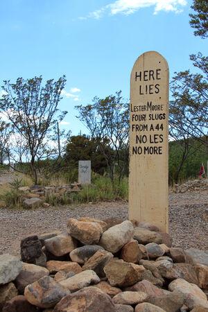 レスター · ムーア、クリスタルパレスサルーン墓地、墓碑、アリゾナ州、アメリカ合衆国の墓 写真素材