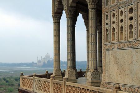 uttar pradesh: View of the Taj Mahal from Fatehpur Sikri Agra Uttar Pradesh India