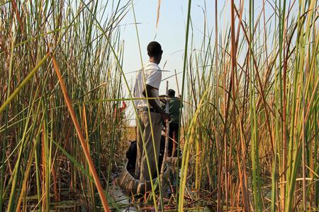 Okavango Delta: Mokoro Safari in Okavango Delta, Botswana Stock Photo