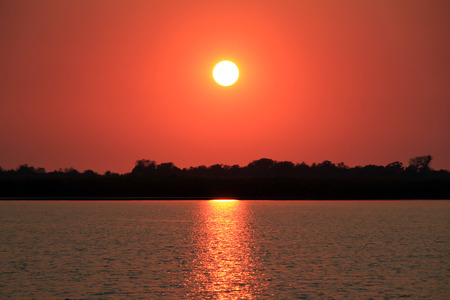 okavango delta: Sunrise over Guma Lagoon. Okavango Delta, Botswana