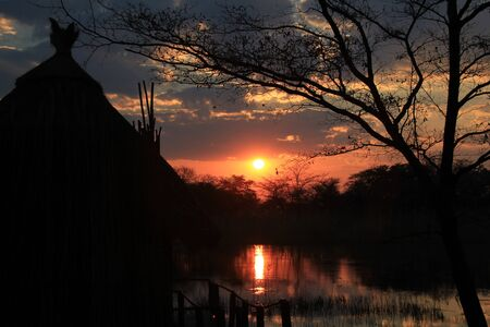 nightfall: Sunset at Kwando River. Caprivi Strip, Namibia Stock Photo
