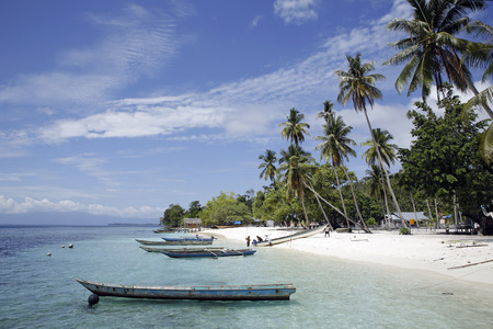 Sawandarek Village, Beach View. Mansuar Island in Dampier Strait, Raja Ampat, Indonesia Stock Photo
