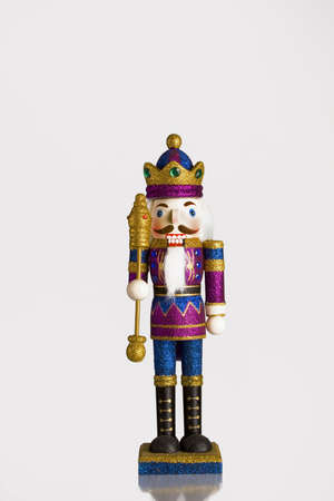 Wood toy king on a white background