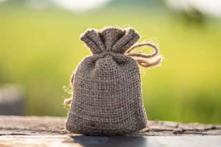 Small linen bag, small sackcloth bag knotted with jute twine