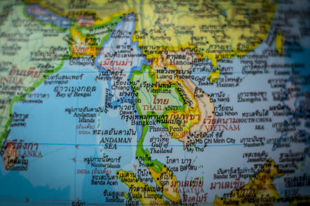 Close up of the country of Thailand on a world map