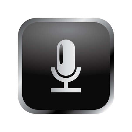 Communication icon: elegant silver audio microphone icon