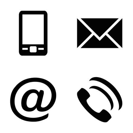 Vector icon set: simple communication icons - mobile phone, envelope, e-mail address, phone