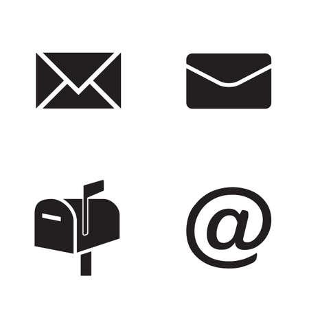 Jeu d'icônes vectorielles : icônes simples de courrier noir plat - enveloppes, boîte aux lettres, symbole de courrier Vecteurs