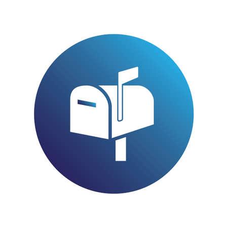 Blue mail box icon Illustration
