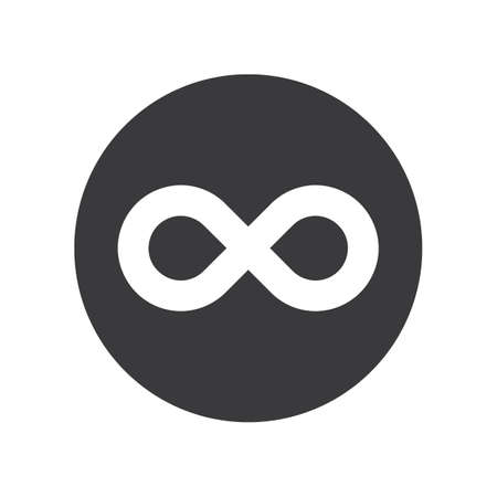 Gray spherical infinity ribbon icon for business 向量圖像