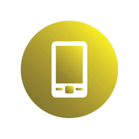 Yellow spherical moble phone icon for business Ilustração