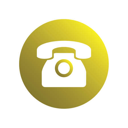 Retro phone yellow spherical icon for business