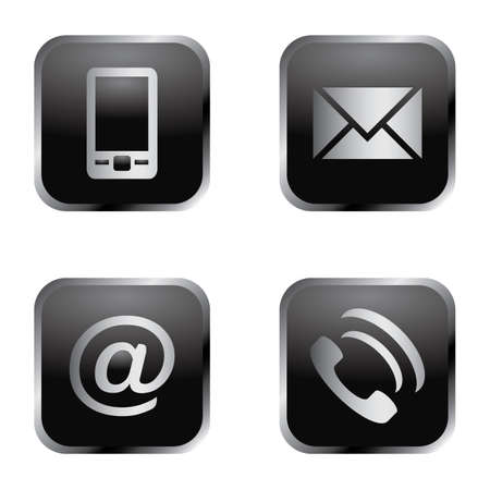 Vector icon set: elegant communication icons - mobile phone, envelope, e-mail address, phone