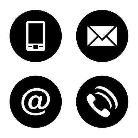 Vector icon set: black flat communication icons - mobile phone, envelope, e-mail address, phone