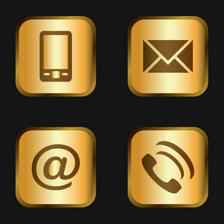 Vector icon set: golden communication icons - mobile phone, envelope, e-mail address, phone