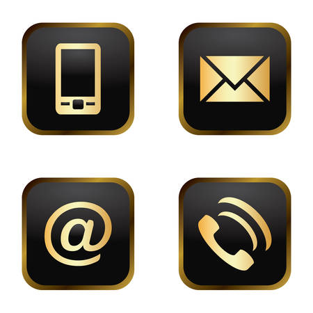 Vector icon set: golden communication icons on black background - mobile phone, envelope, e-mail address, phone