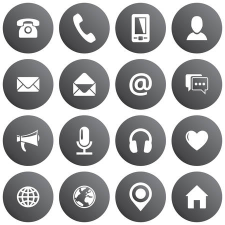 Spherical communication icon set. Vector gray pictograms for business, mobile, web: phone, mobile, profiles, mail, envelope, location, web, chat, microphone, headphones, megaphone, home and others Ilustração