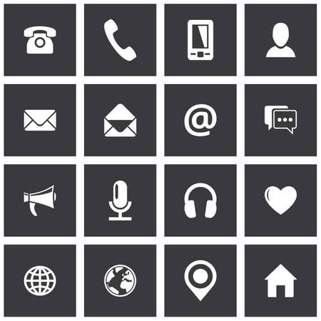 Square communication icon set. Vector pictograms for business, mobile, web: phone, mobile phone, email, envelope, profiles, chat, globe, home, location, microphone, headphones, megaphone