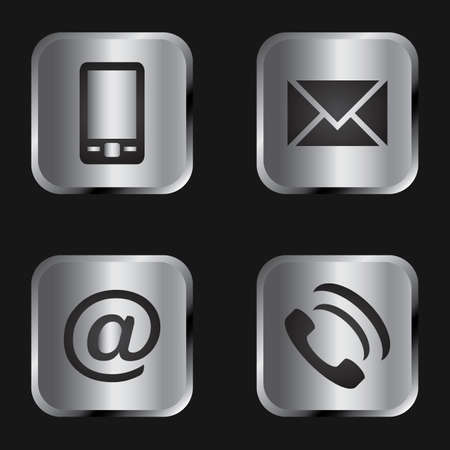 Vector icon set: black communication icons on silver background - mobile phone, envelope, e-mail address, phone