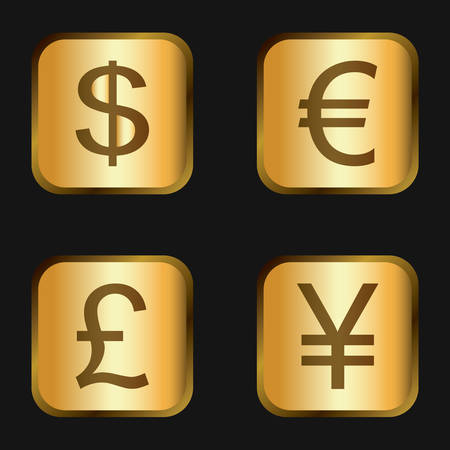 Vector icon set: golden currency icons - dollar, euro, pound, yen Ilustração
